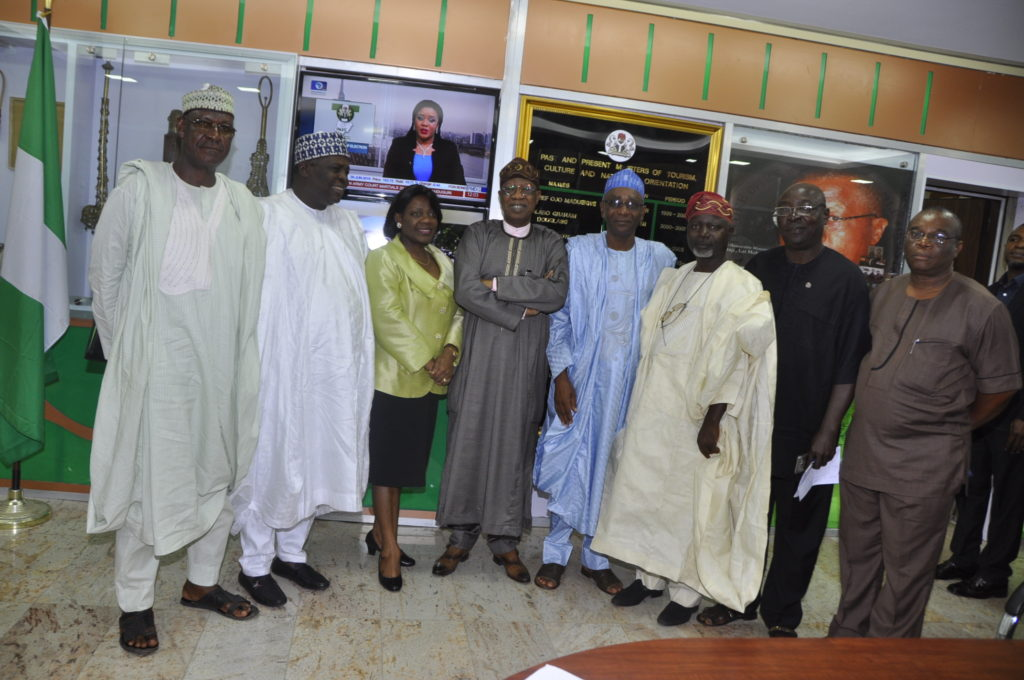 Hon Minister of Information and Culture Alhaji Lai Mohammed, Permanent Secretary in the Ministry Mrs Ayotunde Adesugba with members of the Association of Tourism Practitioners of Nigeria (ATPN) who paid the Minister a courtesy visit in his office in Abuja on Thursday