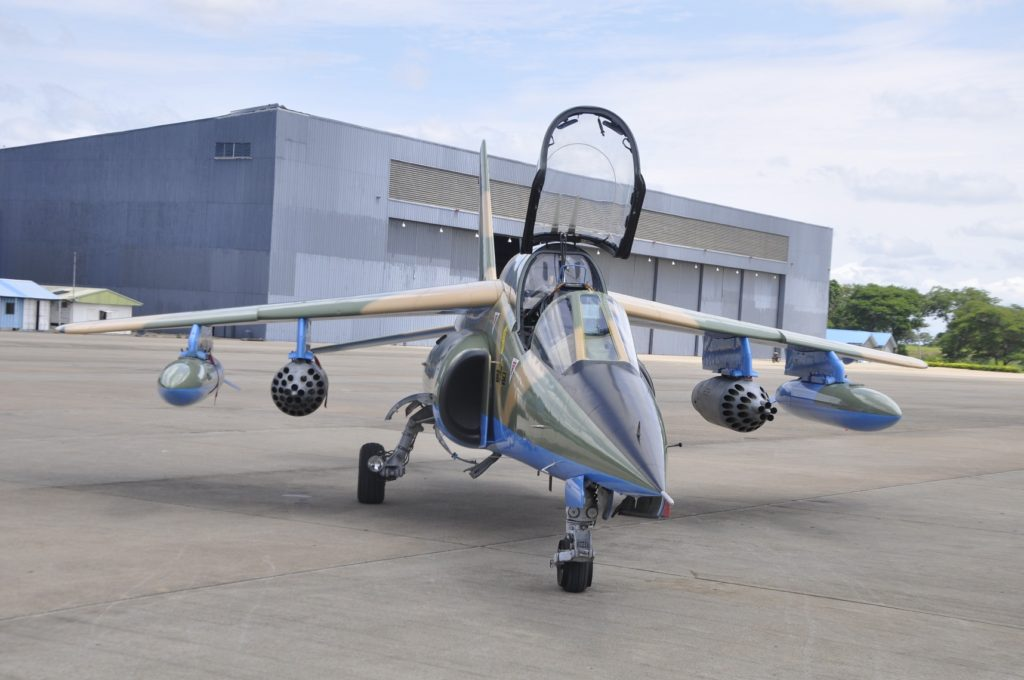 The weaponised Alpha jet after arms delivery