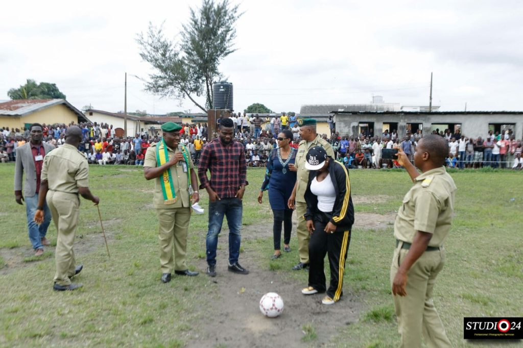 Yobo about to kick a football during the occasion