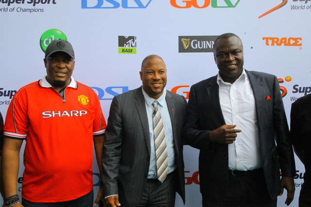 L-R: Martin Mabutho, General Manager, Marketing and Sales, MultiChoice Nigeria; John Barnes, Former Liverpool FC Player; and Felix Awogu, General Manager, SuperSport, West Africa during the DStv premiership new football season held at the Indoor Sports Hall of National Stadium Surulere, Lagos recently.