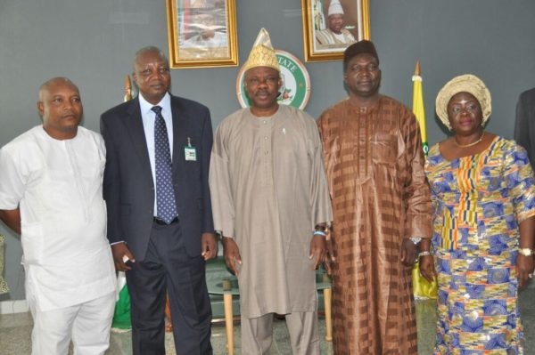 Governor Ibikunle Amosun of Ogun State (middle), his Deputy, Chief (Mrs.) Yetunde Onanuga (right), National Project Coordinator for Rural Access & Mobility Project (RAMP), Engr. Ularamu Ubandoma (2nd left), Project Accountant of RAMP, Mallam Bello Argungu (2nd right) and Infrastructure Engineer of RAMP, Engr. Taiye Tehinse during a courtesy visit of RAMP leadership to the governor in Abeokuta