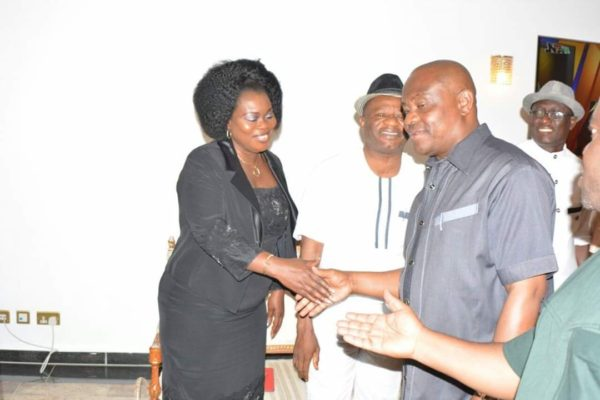 Governor Wike welcoming Mrs Funke Egbemode, Ag President, Nigerian Guild of Editors and her team