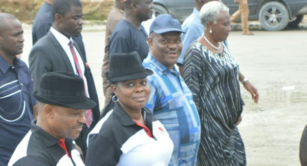 R-L: Fellow of the Nigerian Guild of Editors, Mrs Dupe Gbadebo, Governor Wike and President of the Guild, Mrs Funke Egbemode during the tour