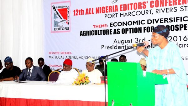 """Governor, State of Osun, Ogbeni Rauf Aregbesola addressing the Nigerian Editors, Practicing Farmers, Agribusiness Financiers, Policy-makers and Captains of Industry on the theme: Economic Diversification: Agriculture as Option for a Prosperous Nigeria, during the 12th Edition of the All Nigeria Editors' Conference tagged """"ANEC 2016"""", in Port Harcourt, River State"""