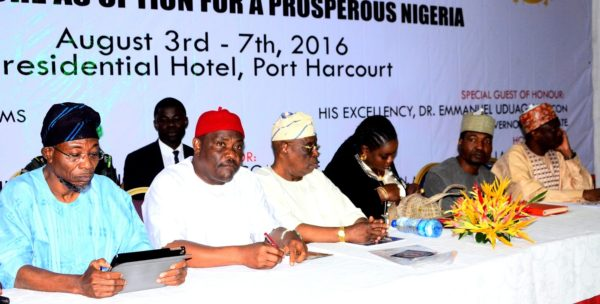Governor, State of Osun, Ogbeni Rauf Aregbesola; Rivers State Governor, Chief Nyesom Ezenwo Wike, Former Governor of Ogun State, Chief Olusegun Osoba, President Nigeria Guild of Editors, Mrs. Funke Egbemode and others at the conference
