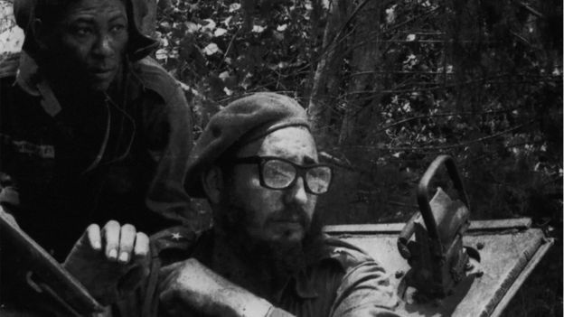 Fidel Castro (with glasses) lived through the Cold War and stayed in power despite attempts by the US to overthrow him. Photo from BBC site.