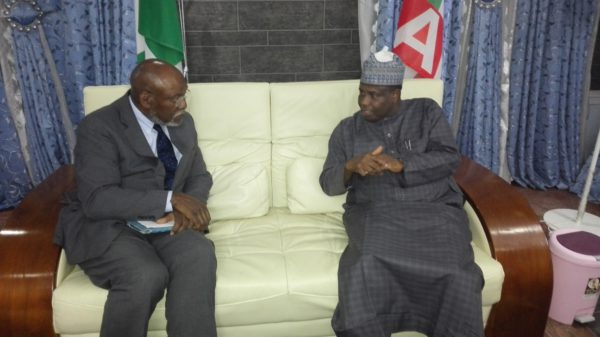 Governor Aminu Waziri Tambuwal (riht) with Senior Advisor at the United States Institute for Peace, Ambassador Johnnie Carson, during their meeting
