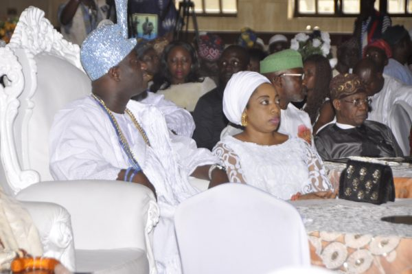 Oni of Ife, Oba Adeyeye Enitan Ogunwusi, his wife, Olori Wuraola Ogunwusi and the Minister of Information and Culture, Alhaji Lai Mohammed at the Third Festival Colloquium of Lagos at 50 held in Muson Centre in Lagos on Saturday.