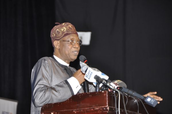 Minister of Information and Culture, Alhaji Lai Mohammed delivering speech at the Third Festival Colloquium of Lagos at 50 held at Muson Centre in Lagos on Saturday.