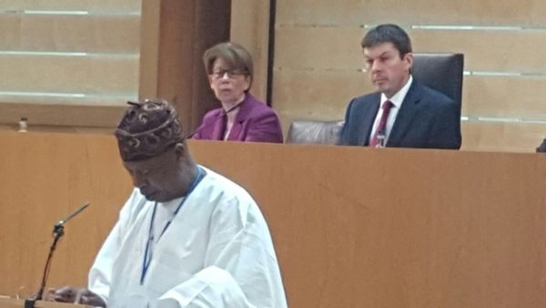 Caption: Minister of Information and Culture,  Alhaji Lai Mohammed,  addressing the 2016 Edinburgh International Festival Summit in Scotland on Thursday, Aug. 26th 2016