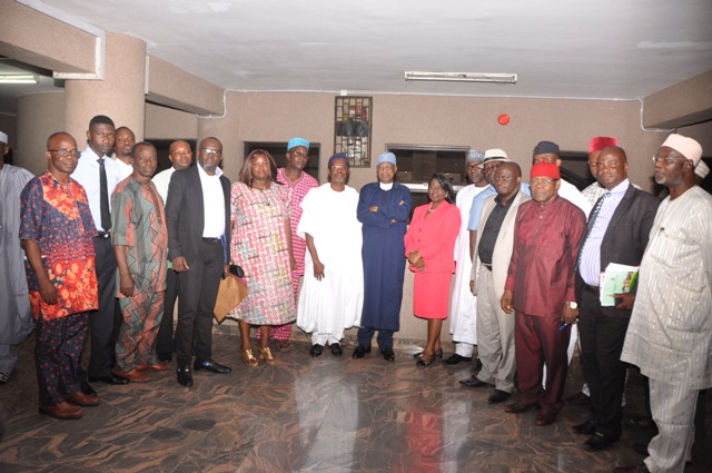 Minister of Information and Culture, Lai Mohammed, and the Permanent Secretary in the Ministry, Mrs Ayo Adesugba, with members of the Federation of Tourism Associations of Nigeria (FTAN) who paid the Minister a courtesy visit in his office in Abuja on Wednesday