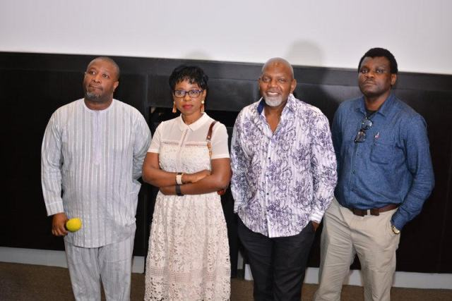 Bolanle Austen-Peters (2nd right) and others at the press screening of the movie in Lagos recently