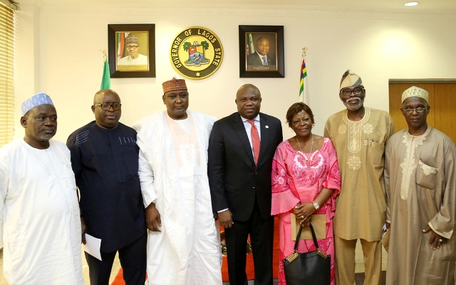 Governor Akinwunmi Ambode (middle), with  Chairman, Indices and Disbursement Committee, Federal Revenue Mobilisation Allocation and Fiscal Commission, Alhaji Aliyu Mohammed (3rd left); members - Mr. Ken Kayama (2nd left); Amb. Polycap Azige (left); Alhaji Bello Usman Maitambari (right); Dr. Rafiq Ogunbambi (2nd right) and Mrs. Matina Odom (3rd right) during the Committee's courtesy call to the Governor at the Lagos House, Ikeja, on Wednesday, August 17, 2016.