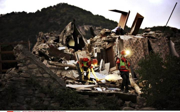 Pescara del Tronto, district of Arquata del Tronto was completely destroyed by the earthquake. Credit: REX