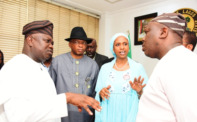 L-R: Lagos State Governor, Mr. Akinwunmi Ambode; Executive Director, Marine & Operation, NPA, Dr. Sekointie Davies;  Managing Director, Nigeria Ports Authority (NPA), Hadiza Bala Usman and Special Adviser to the Governor on Transportation, Prince Anofi Elegushi during a Courtesy visit to the Governor by Managing Director of NPA at the Lagos House, Ikeja, on Wednesday, September 14, 2016.