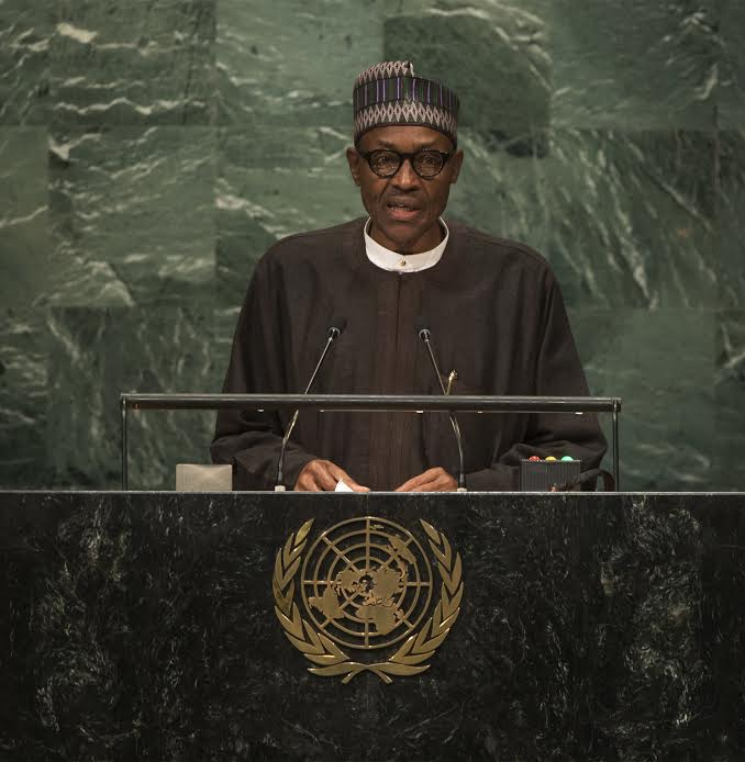 President Buhari addressing the UN General Assembly