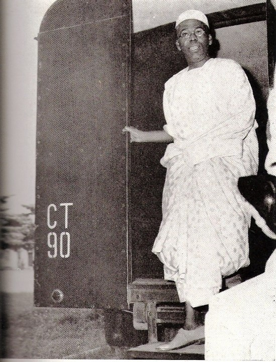 Chief Obafemi Awolowo coming out of the Black Maria (A black prison van used to transport prisoners) on his way to the High Court in Lagos to answer criminal charges brought against him by the Tafawa Balewa government on the 1st day of November 1962 for (1) Treasonable Felony, (2) Conspiracy to commit a felony and (3) Conspiracy to effect an unlawful purpose.