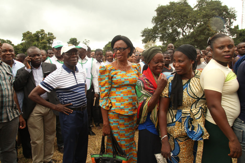 Governor Adams Oshiomhole of Edo State queues at Ward 10, Unit 1, Iyamho to cast his vote in the Edo governorship election, on Wednesday.