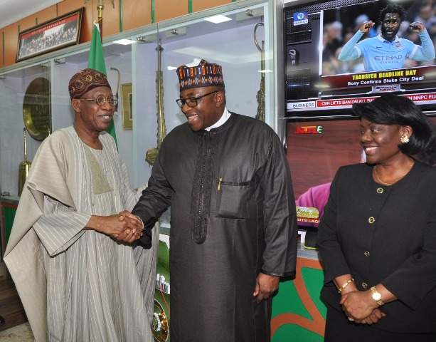 From left: Minister of Information and Culture, Alhaji Lai Mohammed, Governor of Bauchi State, Alhaji Mohammed Abubakar, and the Permanent Secretary, Federal Ministry of Information and Culture, Mrs. Ayo Adesugba when the Governor paid a courtesy visit to the Minister in Abuja on Wednesday.