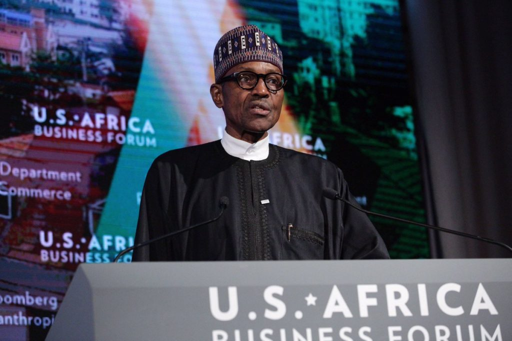 President Buhari delivering his speech at USA-Africa business forum