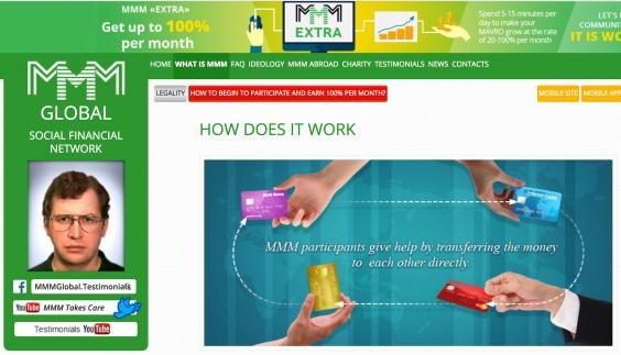 Not a pyramid: MMM's website describes the scheme as a circular system where members 'give help by transferring the money to each other directly' (Screengrab)