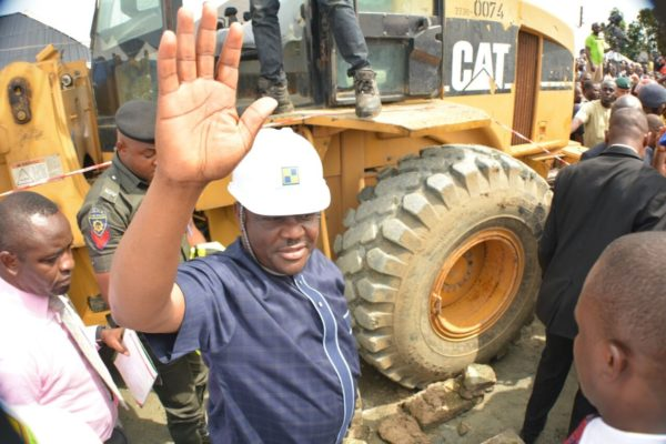 Rivers State Governor, Nyesom Ezenwo Wike at Bodo City on thursday after he flagged off   the  construction of the abandoned Kpopie-Bodo road