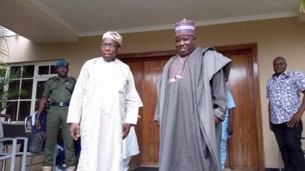 Former President Olusegun Obasanjo and PDP Chairman Modu Sheriff The Nation