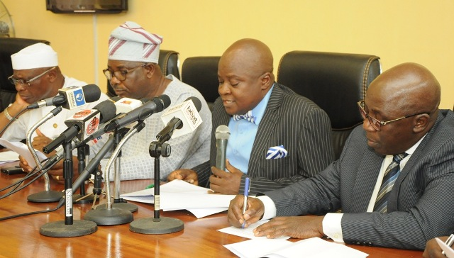 L-R: Commissioner for Local Government & Community Affairs, Hon. Muslim Folami; Special Adviser to the Governor on Commerce, Mr. Benjamin Olabinjo; Commissioner for Commerce, Industry & Cooperatives, Prince Rotimi Ogunleye and Permanent Secretary, Ministry of Information & Strategy, Mr. Fola Adeyemi during a media briefing on the Compensation of the Lekki Free Trade Zone Host Communities at the Bagauda Kaltho Press Centre, the Secretariat, Alausa, Ikeja, on Thursday, September 15, 2016.