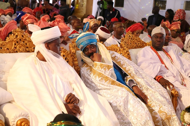 From left: Sultan of Sokoto, Emir of Kano and Ooni of Ife at the coronation of His Royal Majesty, Omo n'Oba n'Edo Uku Akpolokpolo, Oba Ewuare II