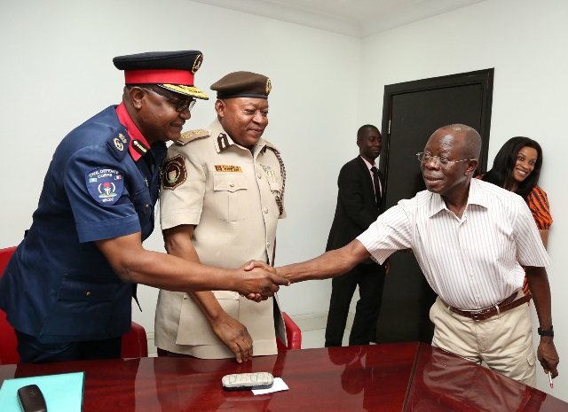 Governor Adams Oshiomhole of Edo State, Mr D.Y Adi, new Comptroller Immigration Service, Edo State and Dr Eze Benito, new Commandant Nigerian Security and Civil Defence Corps (NSCDC) Edo State during a visit to the Governor, on Friday.