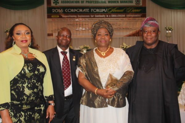 L-R: Mrs. Mojisola Bakare-Asieru, Chairperson, Organizing Committee of Association of Professional Women Bankers (APWB) and General Manager, Corporate Banking Group, Sterling Bank Plc; Pro. Joseph Olusegun Ajibola, President/Chairman of Council, Chartered Institute of Bankers of Nigeria (CIBN); Alhaja Sinatu Aderoju Ojikutu, Former Lagos State Deputy Governor and Mr. Jaiyeola Olaoye, Director General, Nigerian Economic Summit Group (NESG) at the APWB Forum/Dinner held in Lagos at the weekend