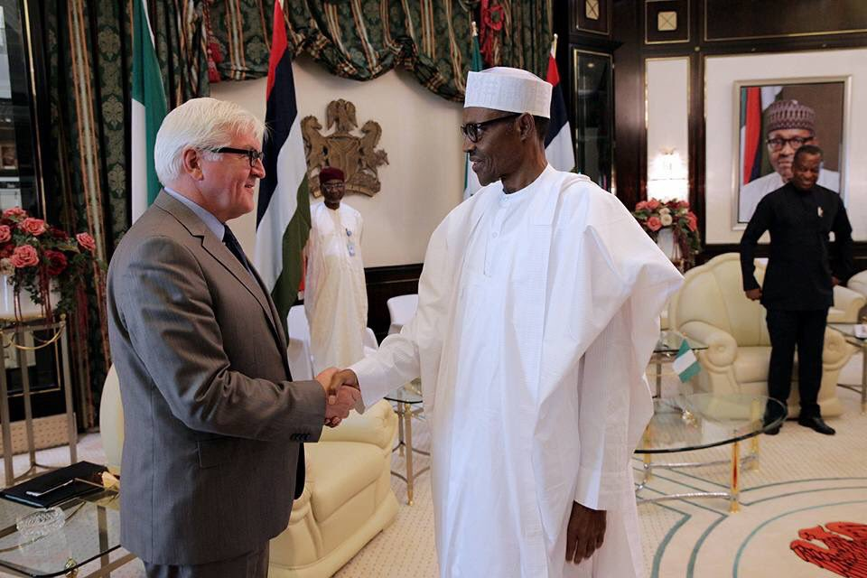 President Buhari receiving Foreign Minister of Federal Republic of Germany, Dr Frank-Walters Steinmeier, at State House, Abuja.
