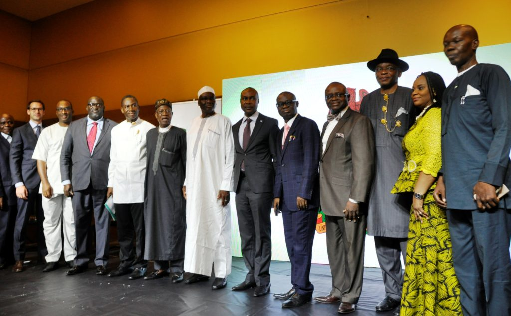 Minister of Information and Culture, Alhaji Lai Mohamed, poses for a group photograph with representatives of the private sector at the unveiling of ''Change Begins With Me'' Campaign to Corporate Nigeria in Lagos on Thursday,