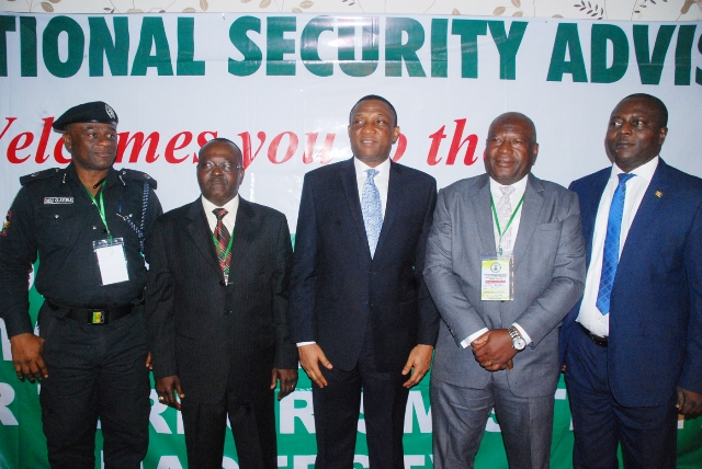 L-R: Commander, Rapid Response Squad (RRS), ACP Olatunji Disu; representative of National Security Adviser (ONSA) and Head, Counter Terrorism, Mr. Steve Agbana; representative of Lagos State Governor and Secretary to the State Government, Mr. Tunji Bello; Director, National Sensitization Workshop on the   Implementation of the National Counter Terrorism Strategy (NACTEST), Mr. Julius Yakubu and Permanent Secretary, office of the Governor Lagos State, Mr. Biodun Bamgboye, during the opening of a 2-day workshop on counter terrorism, at NECA house, Ikeja Lagos…yesterday