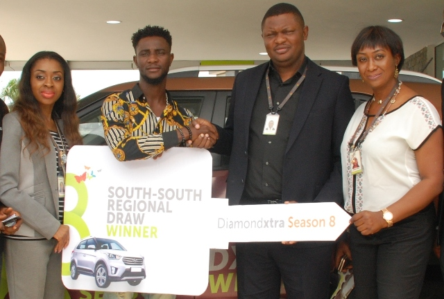 L-R:  Soala Inyang, Area Manager, Port-Harcourt II, Diamond Bank plc; Omoregie Imariabe Austin, DiamondXtra, South-South SUV Winner; Festus Erewele, Area Manager, Benin; and Judith Anolefo, Branch Manager, Aba Road Branch, Port-Harcourt, all of  Diamond Bank Plc at the DiamondXtra South-South Prize giving Ceremony held in Port-Harcourt recently.