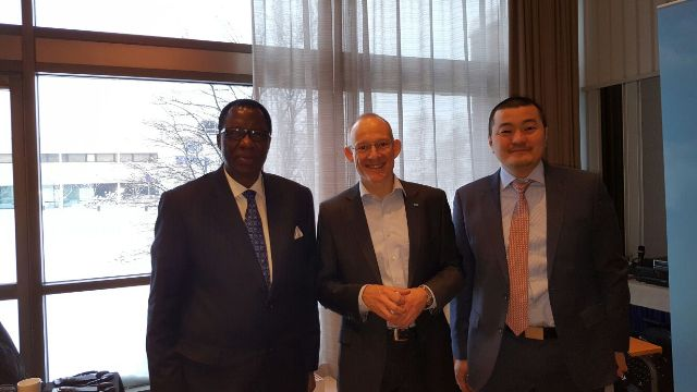Gbenga Daniel, left, and two officials of Nigerian-Finnish Business Council