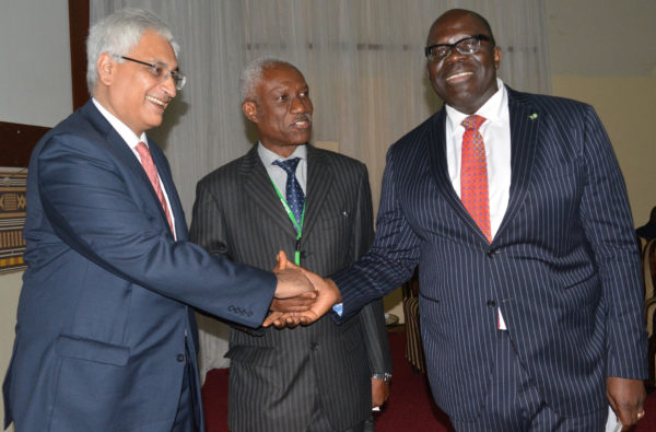L-R: Director, Integrated Capital Services Limited, India; Mr Sajeve Deora, Fellow of Chartered Accountant, Mr. Adepeju Tunji and Executive Director/North Directorate, Heritage Bank, Mr. Ola Olabinjo;  during the 46th annual Accountants Conference in Abuja, Thursday