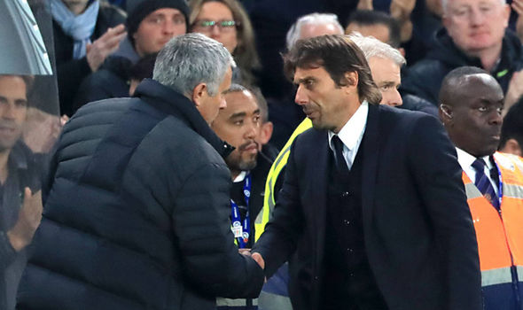 Manchester United manager Jose Mourinho (left) and Chelsea manager Antonio Conte shake hands