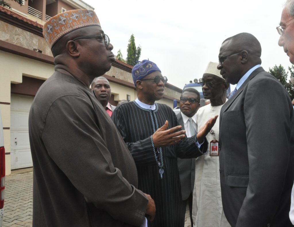From Left: Chairman of Pinnacle Communication Limited Sir Lucky Omoluwa, Minister of Information and Culture, Alhaji Lai Mohammed, Director General of NTA, Mallam Yakub Ibn Mohammed and the Director General of NBC, Ishaq Modibbo Kawu during the facility tour of the company in Abuja on Tuesday preparatory to the launch of the Digital Switch Over in Abuja.