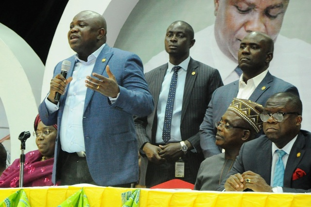 Lagos State Governor, Mr. Akinwunmi Ambode (2nd left), Deputy Governor, Dr. (Mrs.) Oluranti Adebule; Commissioner for Establishments & Training, Dr. Benson Akintola and Attorney General & Commissioner for Justice, Mr. Adeniji Kazeem during the 3rd Quarter 2016 Town Hall meeting (5th in the series) to render account of stewardship of Governor Ambode's administration, at the Sir Molade Okoya-Thomas Indoor Sports Hall, Teslim Balogun Stadium, Surulere, Lagos, on Tuesday, October 11, 2016.