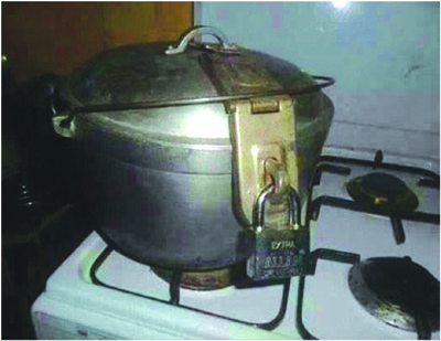 Pot fixed with padlock to prevent stealing