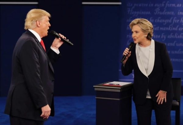 Trump and Clinton during their second presidential debate