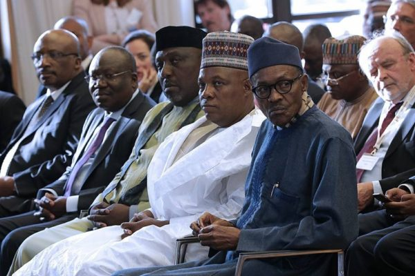 President Buhari with R-L: Governor of Borno State Kashim Shettima, Governor of Imo State Rochas Okorochas, Chairman Senate Committee on Defence Senator Ahmed Lawan and Minister of Interior Abdulrahman Dambazzau at the sidelines of his Official visit to Germany on 14th Oct 2016