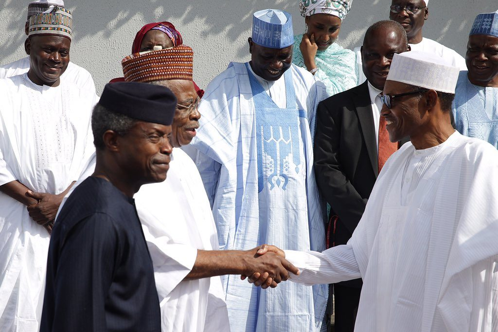 President Buhari (right) General TY Danjuma, Vice President Yemi Osinbajo and other members of the Committee after the inauguration
