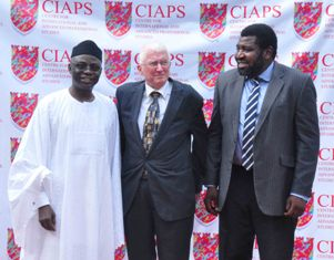 50 years in Nigeria, encounter with Chief Joop Berkhout, hosted by CIAPS, Lagos. Pix: Chief Joop Berkhout, Safari Books, with Pastor Tunde Bakare, left, and Kila, right