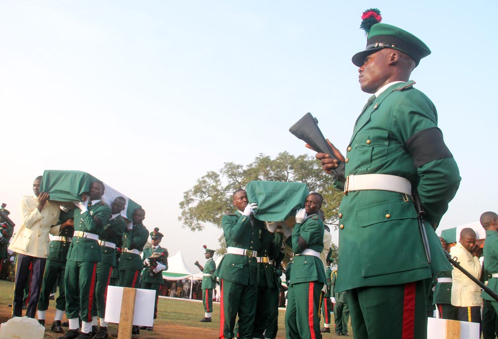 Remains of the slain soldiers arrive for burial