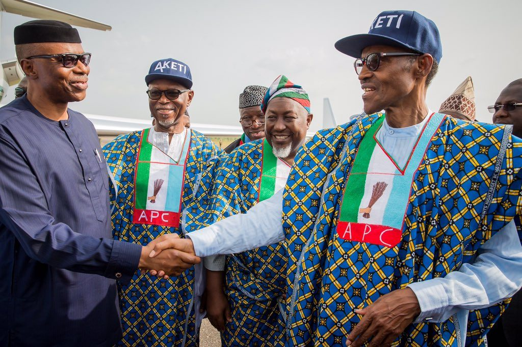 Gov. Mimiko receives Buhari and other APC Chieftains at Akure Airport