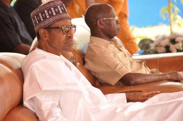 President Muhammadu Buhari and Governor Adams Oshiomhole at the commissioning of the new 200-bed 5-Star Central Hospital in Benin City, on Monday.