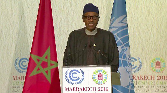 President delivering his address on Tuesday  at the 22nd Session of the Conference of Parties to the United Nations Framework Convention on Climate Change (COP22) taking place in Marrakech, Morocco.