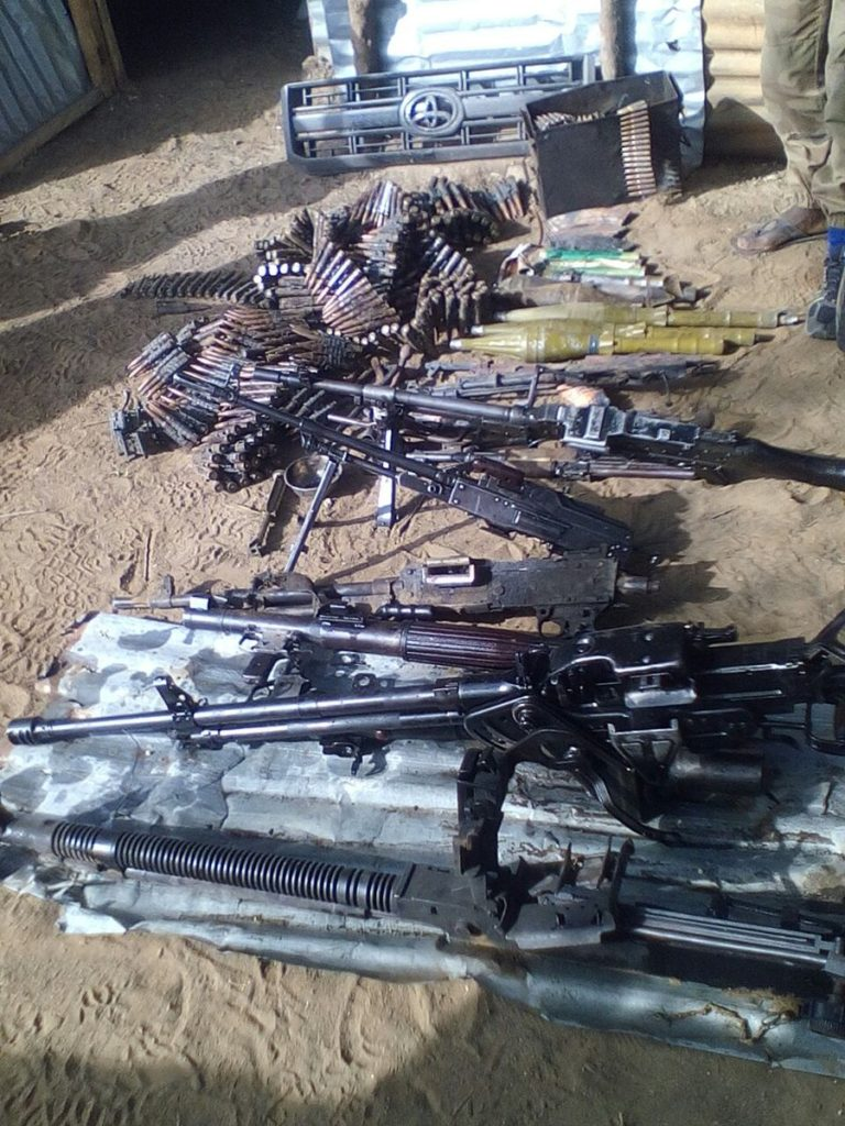 Weapons seized from Boko Haram insurgents